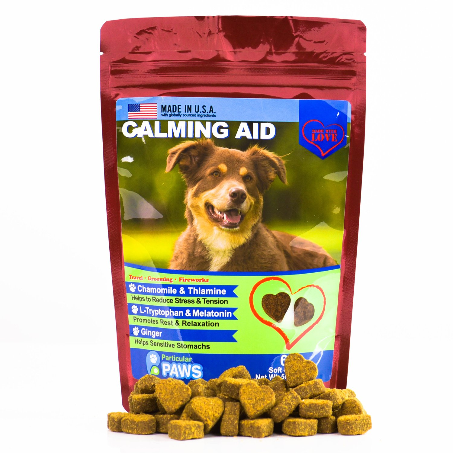 Dog Calming Aid - Treats - Melatonin, L Tryptophan, Chamomile Flower, Passion Flower and Thiamine Mononitrate - 65 Soft Chews