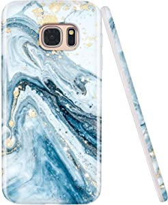 JIAXIUFEN Galaxy S7 Case Gold Sparkle Glitter Blue Marble Design Flexible Bumper TPU Soft Rubber Silicone Cover Phone Case for Samsung Galaxy S7