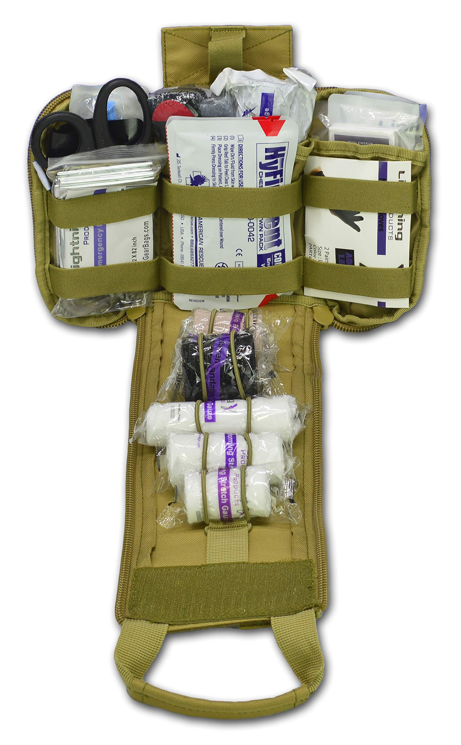 Lightning X Spread Eagle Complete Tactical Gunshot & Trauma IFAK Kit w/Laser Cut MOLLE - TAN