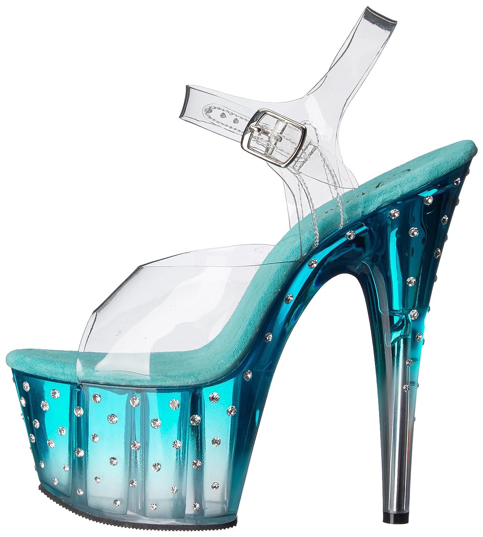 Pleaser Women's Stardust 708T Platform Dress Sandal B010BNAK6Y 7 B(M) US|Clear/Teal/Clear