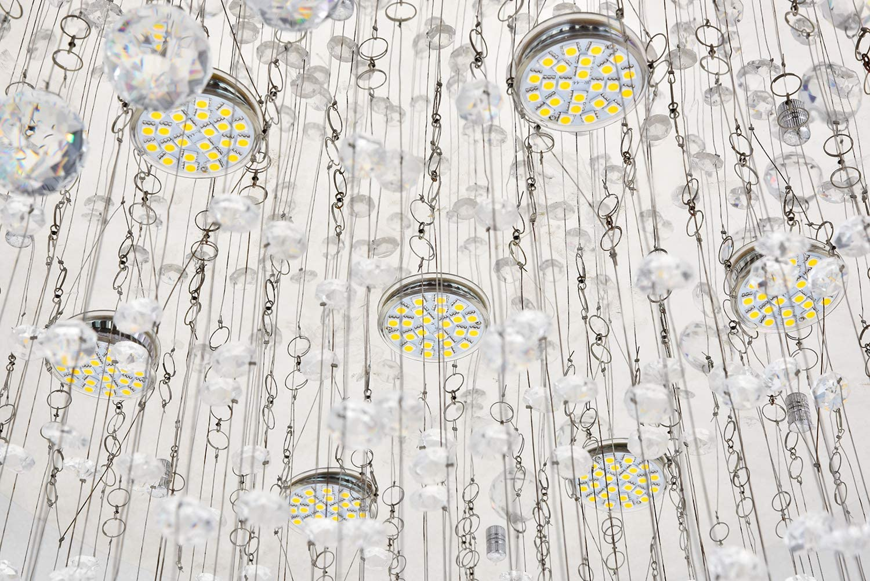 Double Spiral Clear Jewel Glass Droplet Ceiling Lamp Fixture Flush Mound LED Pendant Lighting for Living Room Lounge Hallway Dst Crystal Chandelier Ceiling Lights D50cm H186cm Foyer Dining Room