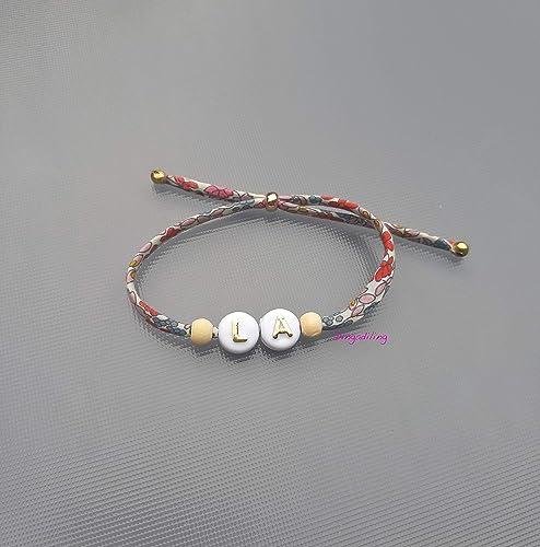 Choixamp; Dorées Bracelet Au Perles Liberty2 Cordon Initiales zSpGUMLqV