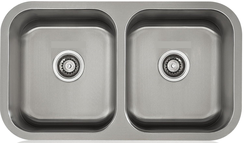 lenova ld18118 apogee stainless steel equal double bowl undermount kitchen sink 18gauge amazoncom