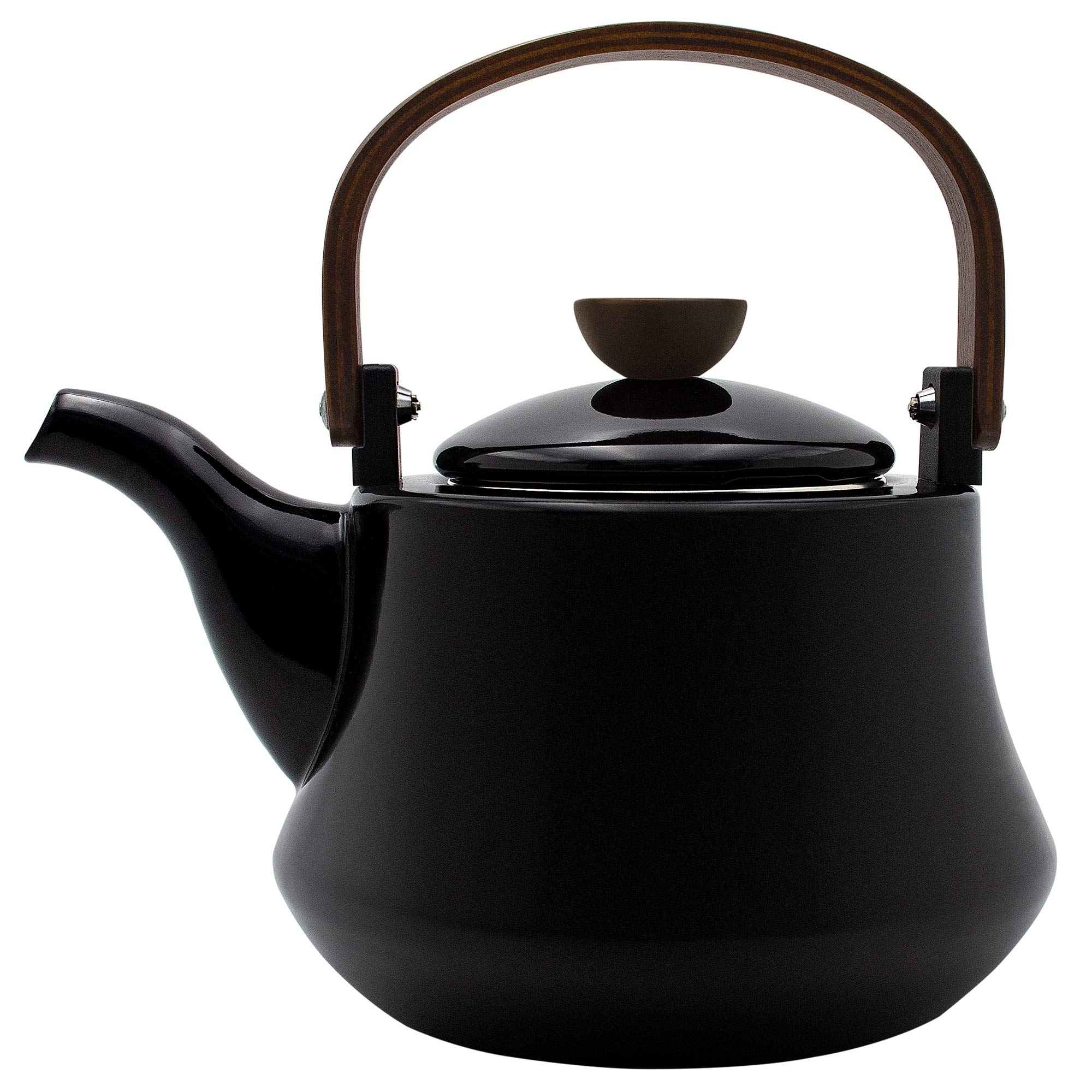 Enameled Tea kettles, AIDEA 1.8 Quart Ceramic Tea Kettle for Stovetop Induction, Enamel-on-Steel Serving Tea Pot with Wooden Handle, Large Porcelain Tea Kettle Black - [No Whistle] by AIDEA
