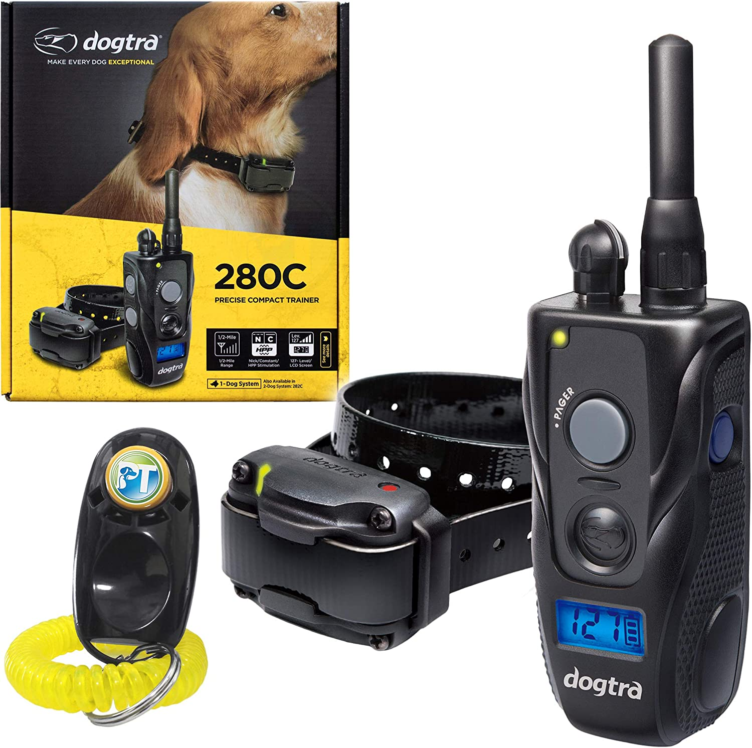 Dogtra 280C, 282C Remote Training Collar - 1/2 Mile Range, Waterproof, Rechargeable, Static, Vibration - Includes PetsTEK Dog Training Clicker