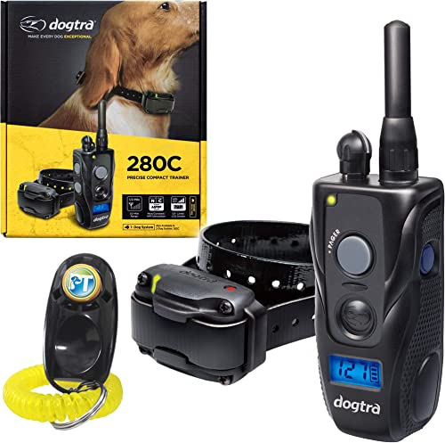 Dogtra 280C, 282C Remote Training Collar – 1 2 Mile Range, Waterproof, Rechargeable, Static, Vibration – Includes PetsTEK Dog Training Clicker