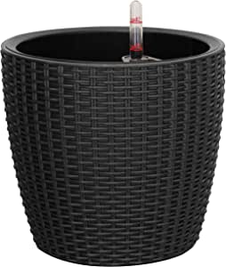 TABOR TOOLS TB504A Round Shaped Rattan Planter (Black)