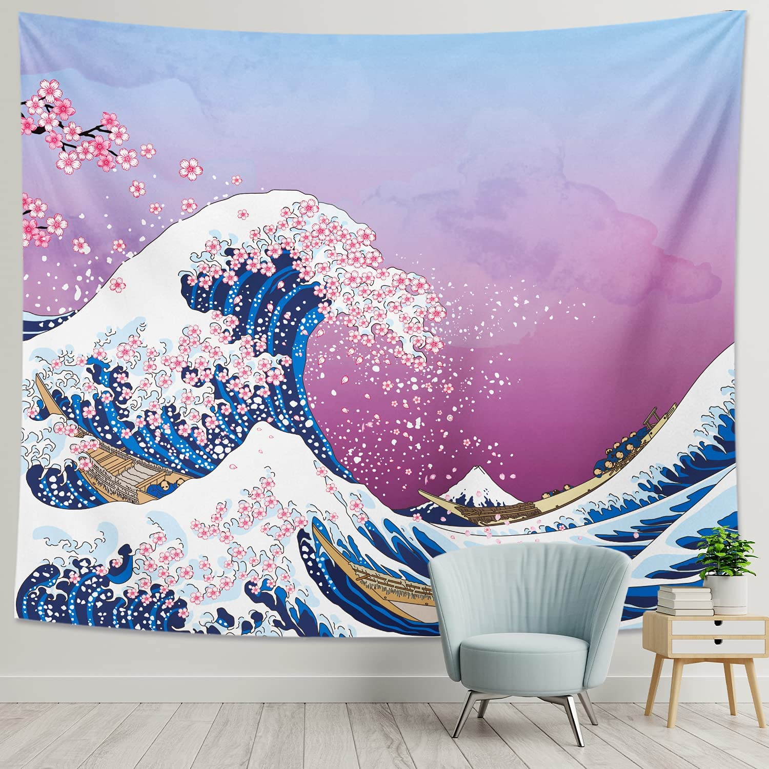 DESIHOM Japanese Tapestry Kanagawa Great Wave Tapestry Anime Tapestry Pink Cherry Blossom Art Wall Tapestry for Bedroom Living Room Dorm Home Decor 59x51 Inch