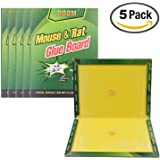 Mouse Trap,Mouse Rat Glue Boards,(5-Pack) Mouse Glue Traps,Mouse Size Glue Traps Sticky Boards Mouse Catcher Mice Professional Strength Glue Insect Lizard Spider Cockroach Rodent Snake Strongly