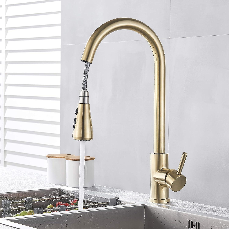 color dorado cepillado Grifo de cocina con ducha extensible, giratorio 360/° SUGU