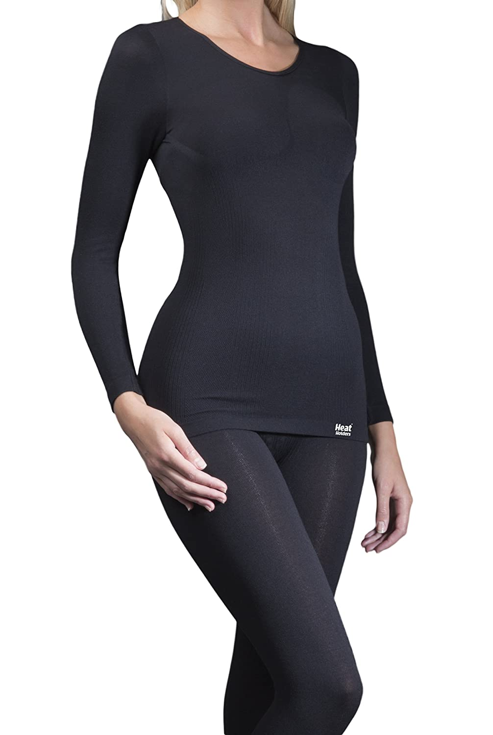 1 No. Ladies GENUINE Original Thermal Tog Heat Holders Long Sleeve Vest - BLACK available in S/M & L/XL
