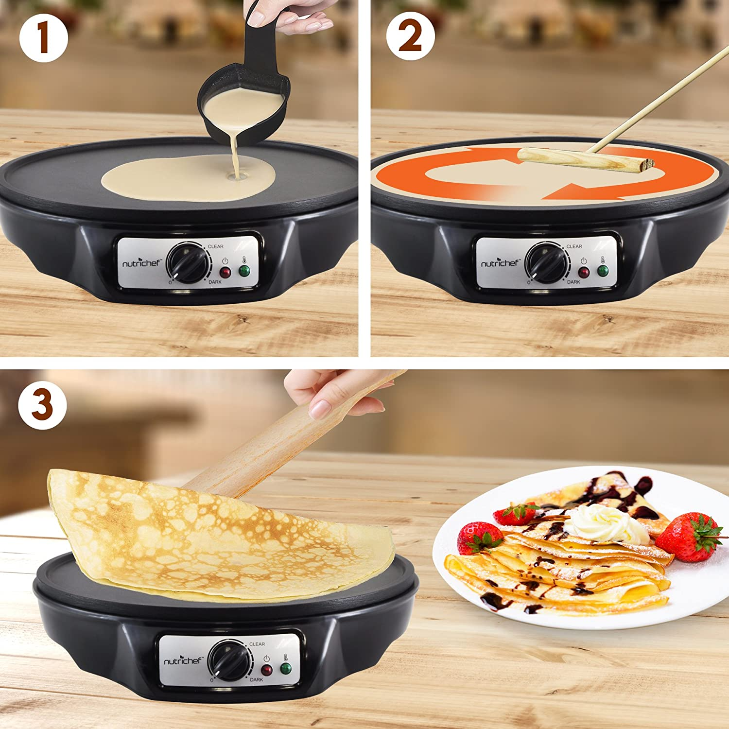 Aluminum Griddle Hot Plate Cooktop with Adjustable Temperature Control and LED Indicator Light Nonstick 12-Inch Electric Crepe Maker NutriChef Includes Wooden Spatula and Batter Spreader