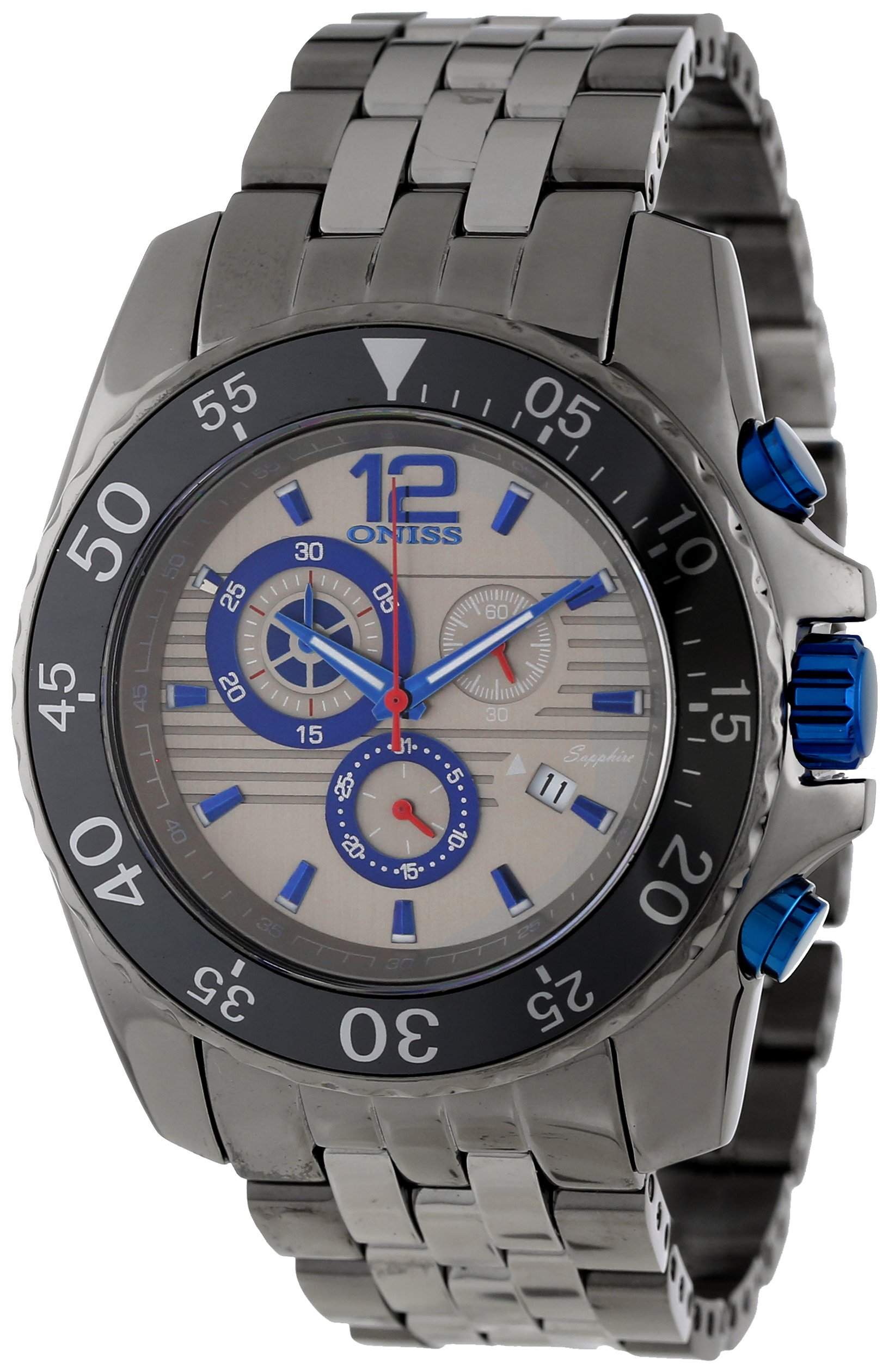Oniss Paris Men's ON4220-MTT BLU Iceberg Stainless Case Band Watch by Oniss