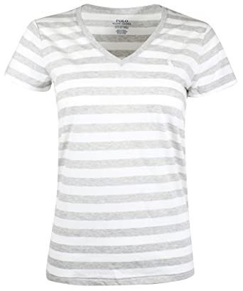 best website 0b717 23b5f Ralph Lauren Polo Damen V-Neck Shirt T-Shirt Grau-Weiß ...
