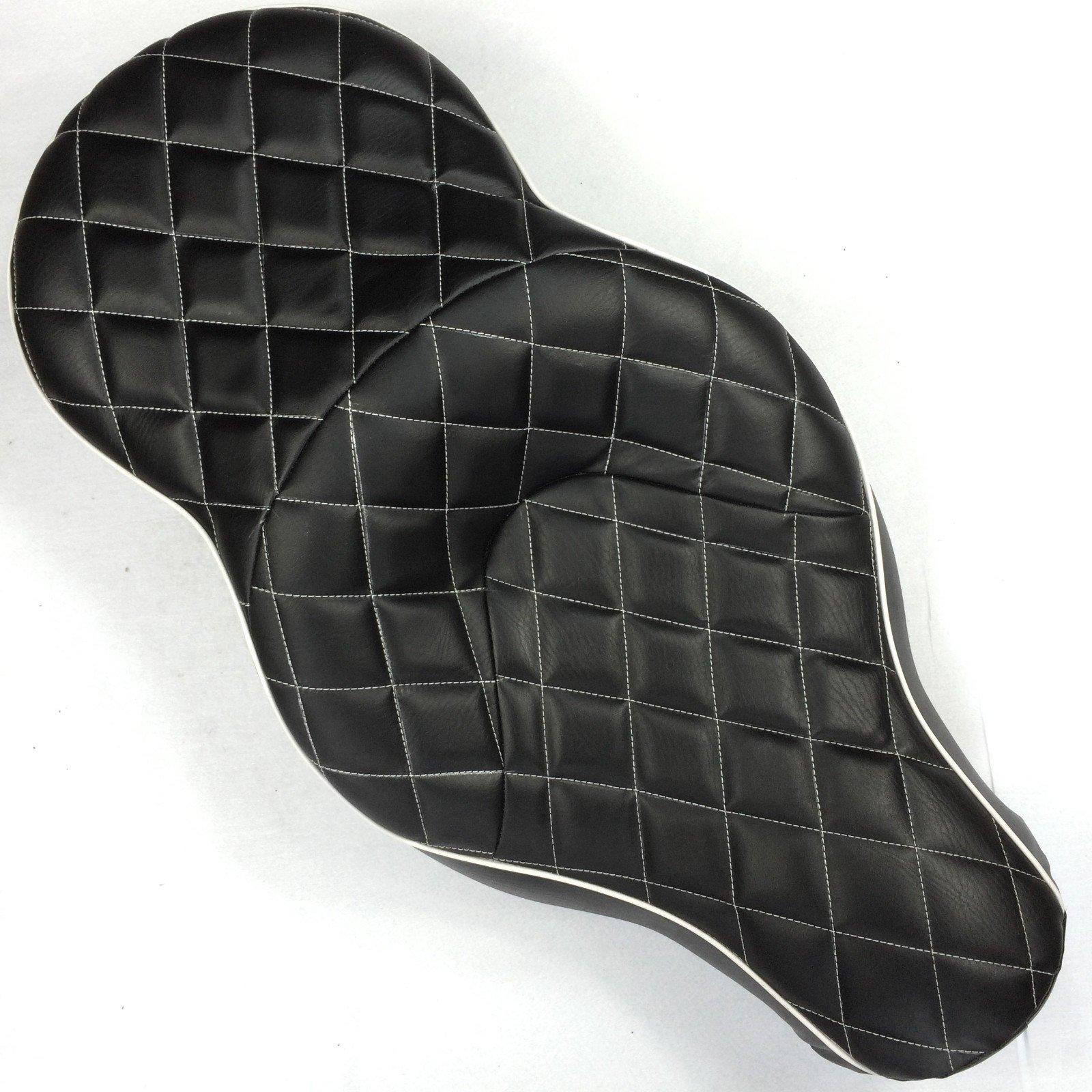 HTT Motorcycle Black Custom Thick Driver Passenger 2-up Diamond Stitch Style Leather Seat For 2005 2006 2007 2008 2009 2010 2011 2012 2013 Harley Davidson XL883N XL883L XL883X