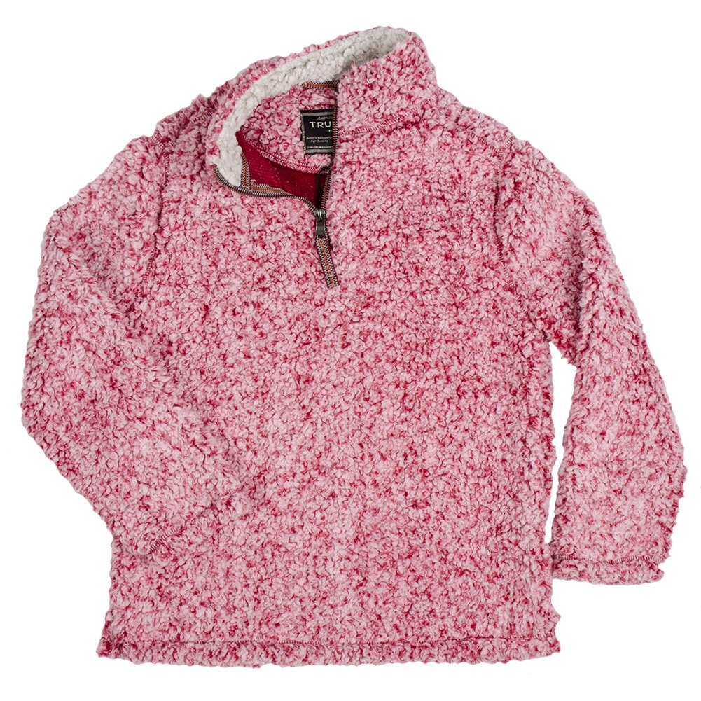 True Grit Kid's 1/4 Zip Frosty Tipped Pile Red Pullover L by True Grit