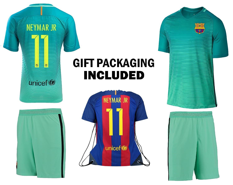 ファンKitbag Neymar Jr # 11 Barcelona Youth Home / Away Soccer Jersey & ShortsキッズプレミアムギフトKitbag ボーナスNeymar Jr # 11 Drawstringバックパック YS 6-8 Years  B07C6K5PS2