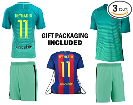 8ea5fc64830 Fan Kitbag Neymar Jr  11 Barcelona Youth Home Away Soccer Jersey   Shorts  Kids