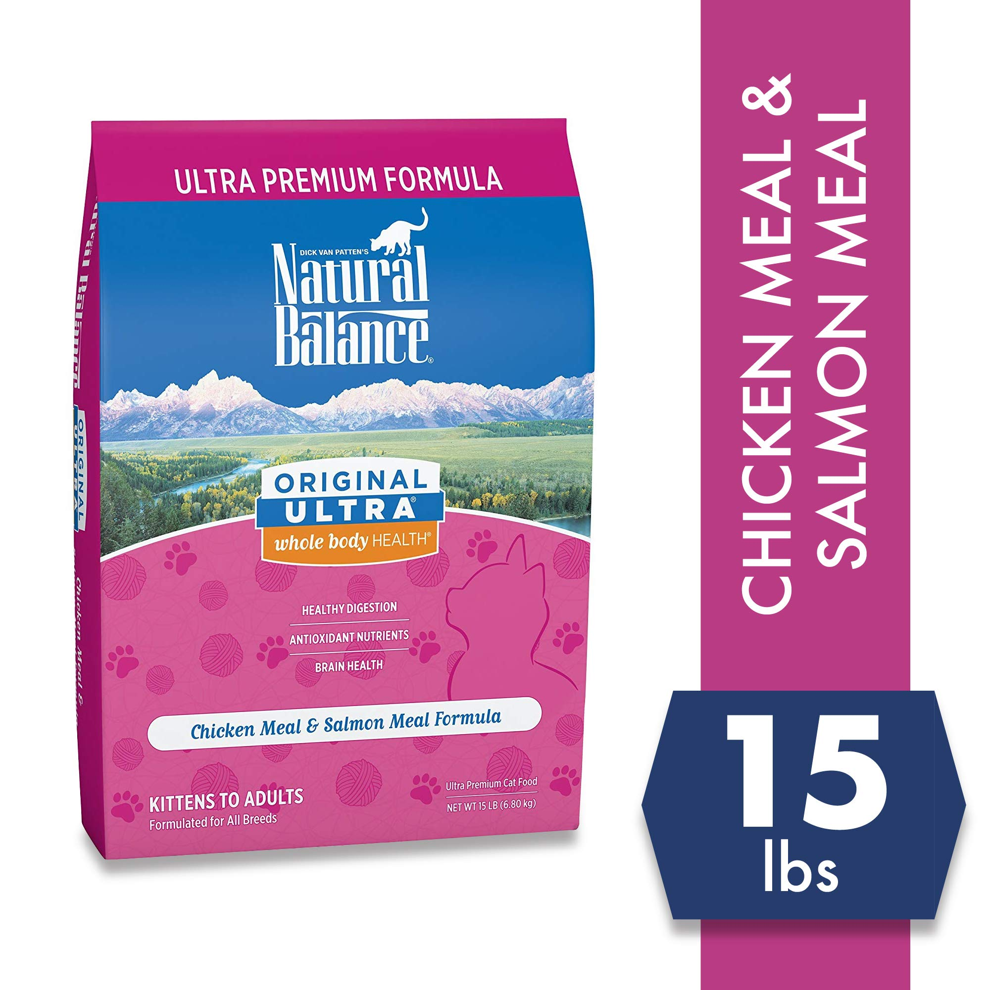 Natural Balance Original Ultra Whole Body Health Chicken Meal & Salmon Meal Formula Dry Cat Food, 15 Pounds by Natural Balance