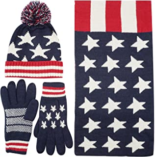 13d8232b617 Women s Adult USA American Flag Star Print Red White Knitted Hat Beanie Scarf  Gloves Set