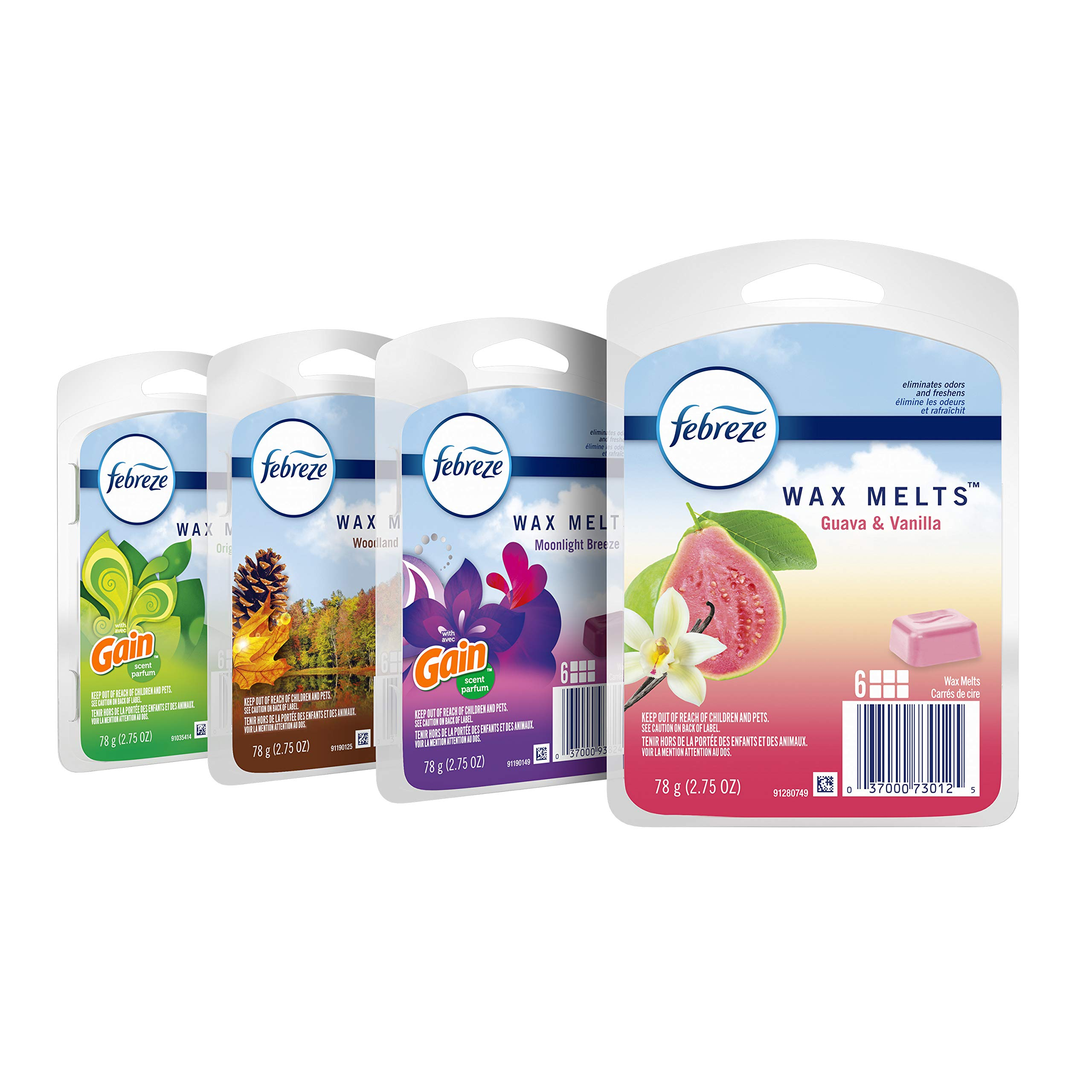 Febreze Wax Melts, Air Freshener and Odor Eliminator, Variety Pack, 4 Packs, 6 Cubes Each