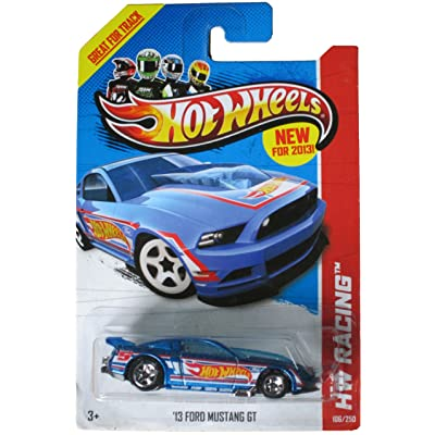 Hot Wheels 2013 Hw Racing Blue '13 Ford Mustang Gt 106/250: Toys & Games