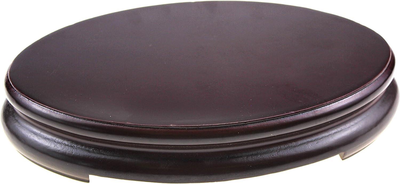 Oriental Furniture Luxury Dark Composite Wood Stand Holder Wooden Display Stands Elliptic Oval Oblong Shape Pedestal (L 18cm(top Length) 12cm(top) 3.5cm)
