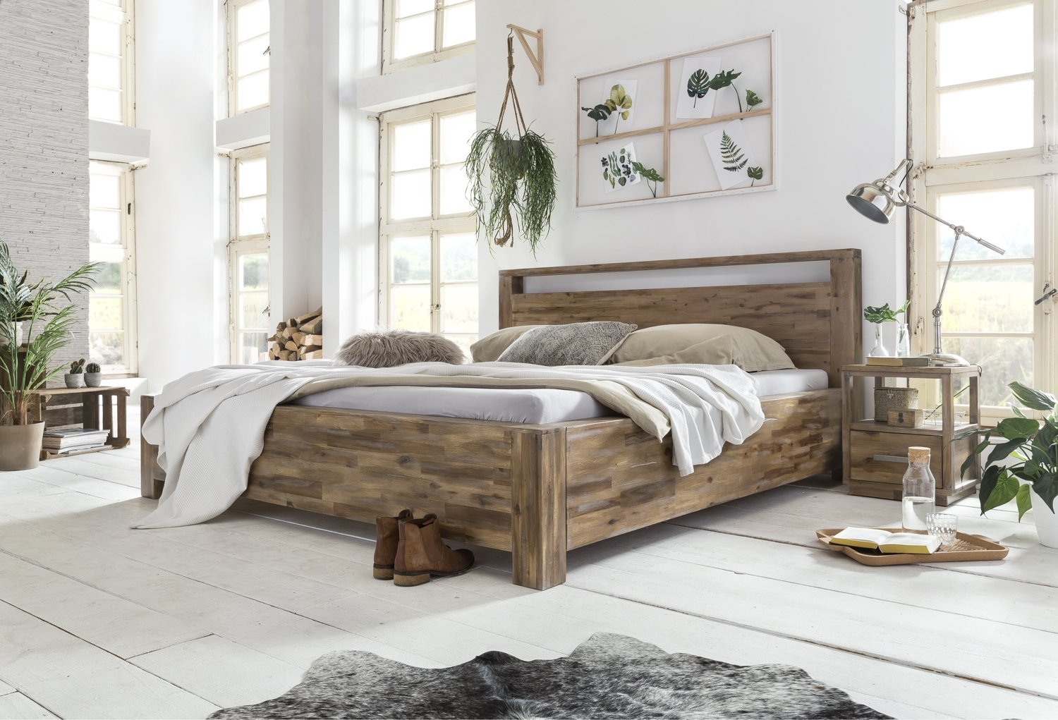 Woodkings Holz Bett 180x200 Havelock Doppelbett Akazie Rustic