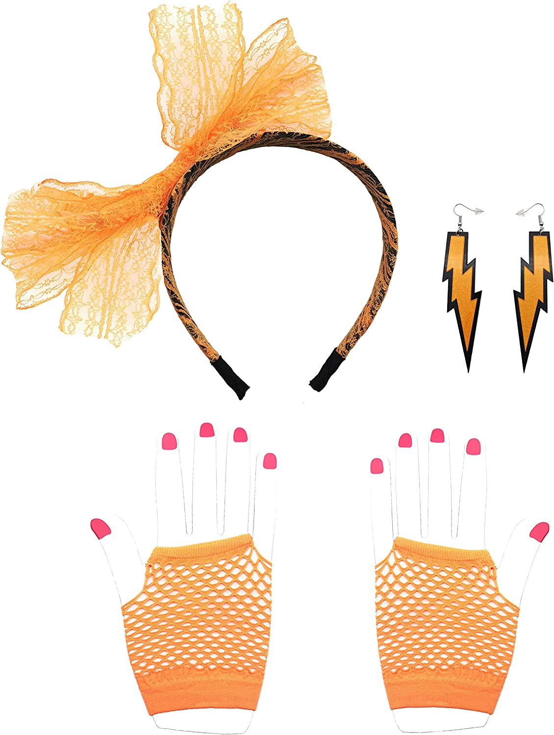 Orange 80s Neon Lace Headband Earrings Fingerless Fishnet Gloves Womens 80s Costume Accessories 3 Set for 80s Party