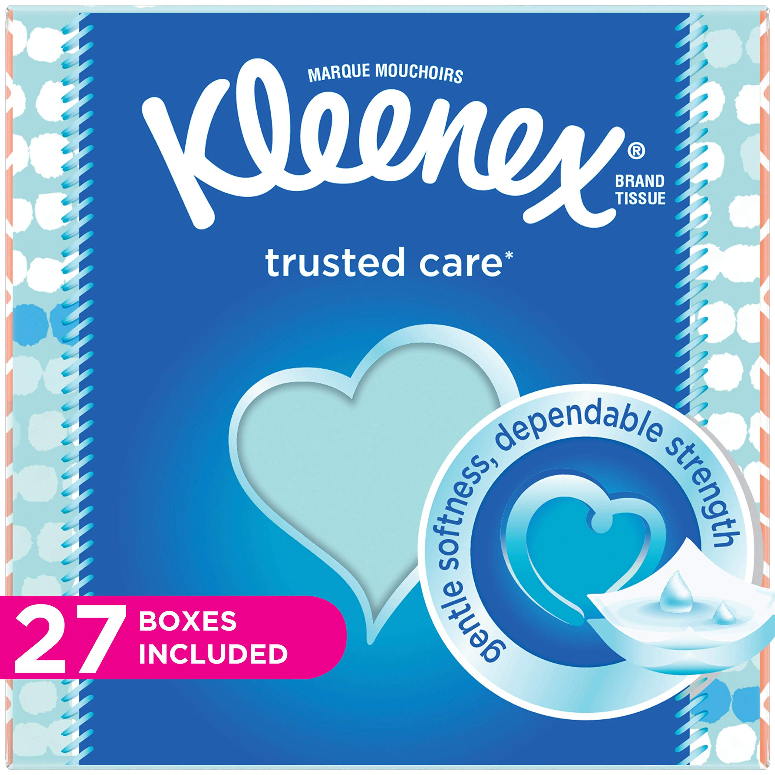 Kleenex Trusted Care Everyday Facial Tissues, Cube Box, 55 Tissues per Cube Box, 27 Packs by Kleenex