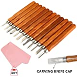 Wood Carving Tools, Kereda 12-Piece Set Wood Carving Chisels Set with Storage Bag, Handmade Wood Carving Knife Wood Carving Chisels Knife Kit for Beginner&Expert with Gift(Fabric)