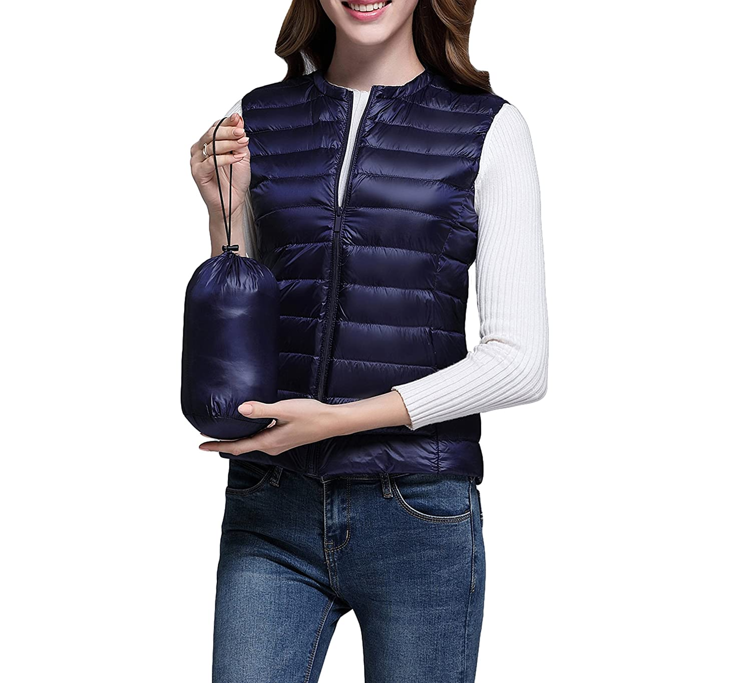 VMANNER Women's Down Vest Packable LightweightOutdoor Puffer Vest Down Puffer Vest