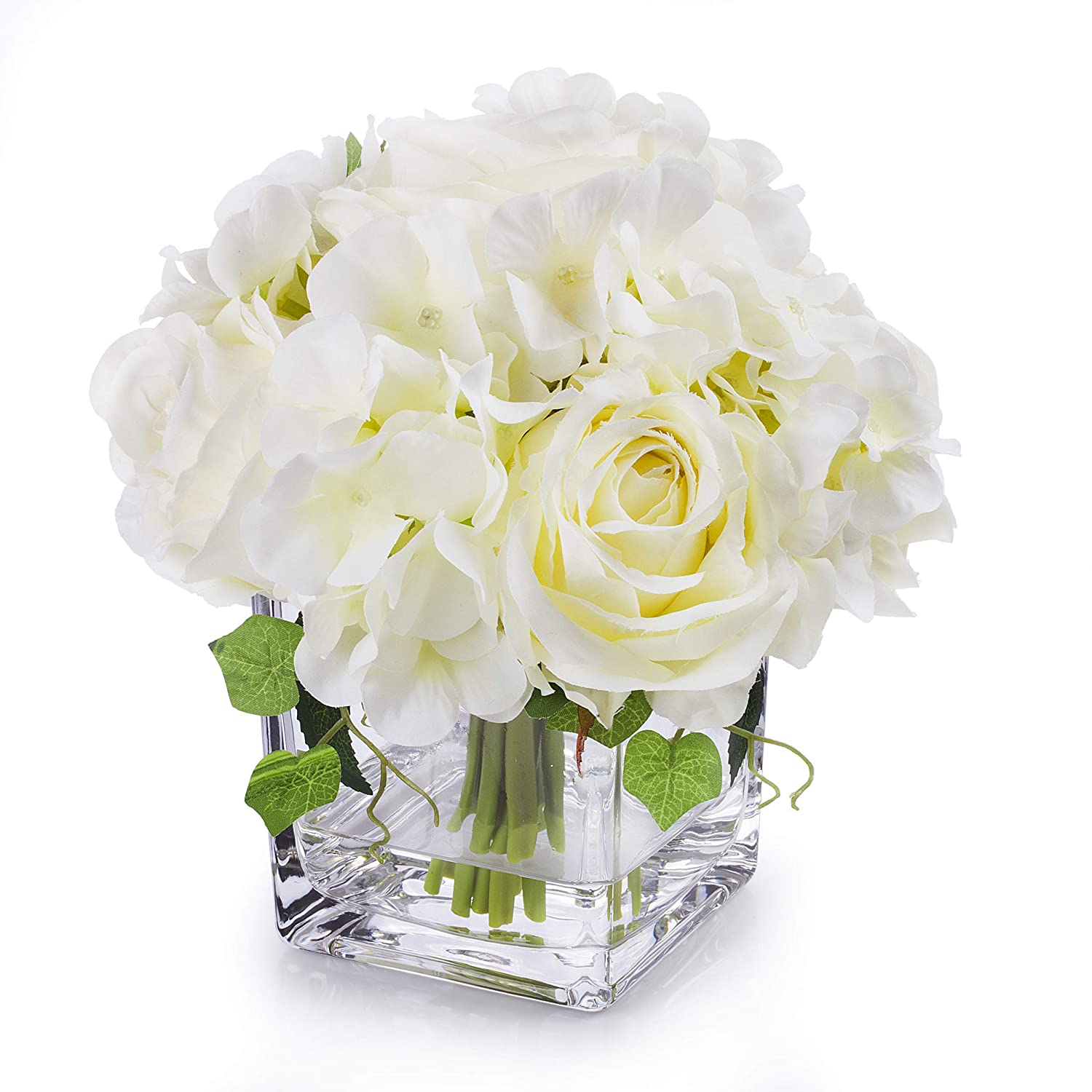 Enova Home Artificial Silk Rose and Hydrangea Flowers Arrangements in Cube Glass Vase for Home Wedding Decoration (Cream) (Cream)
