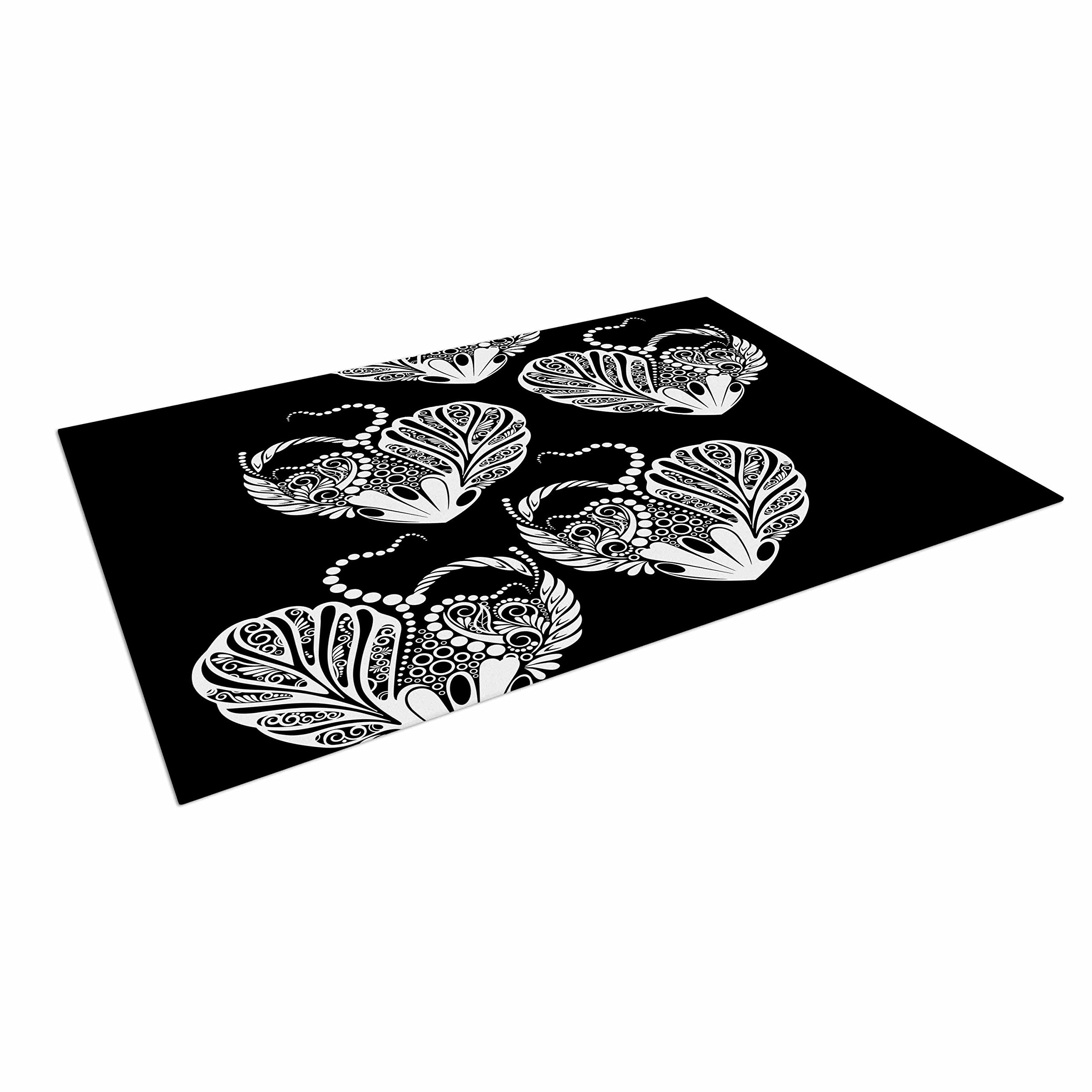 KESS InHouse Maria Bazarova ''Heart'' White Love Outdoor Floor Mat, 4' x 5'