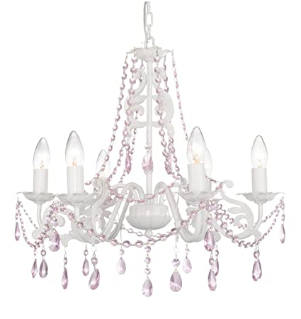 Firefly kids lighting ashley 6 arm crystal chandelier in pink 6 light e12