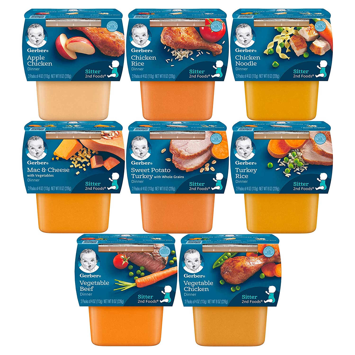 Gerber 2nd Foods Tubs Dinners Variety Pack, 2 Turkey Rice, 2 Sweet Potato Turkey, 2 Chicken Noodle, 2 Chicken Rice, 2 Apple Chicken, 2 Mac & Cheese, 2 Vegetable Chicken, 2 Vegetable Beef, 16 CT