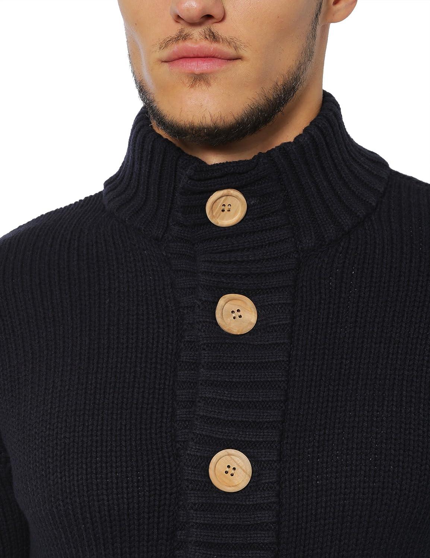 Lower East C/árdigan para hombre con grandes botones de madera natural