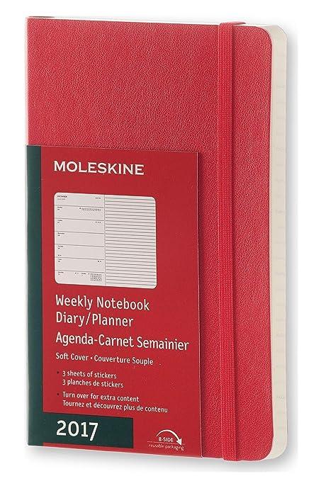 Moleskine DSF212WN2Y17 - Agenda semanal 12 meses, pocket 9 x 14, color rojo