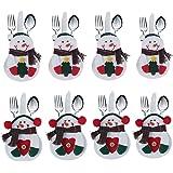 DegGod 8 Natale pupazzo di neve porta posate Natale da tavolo, decoro natalizio, in confezione regalo
