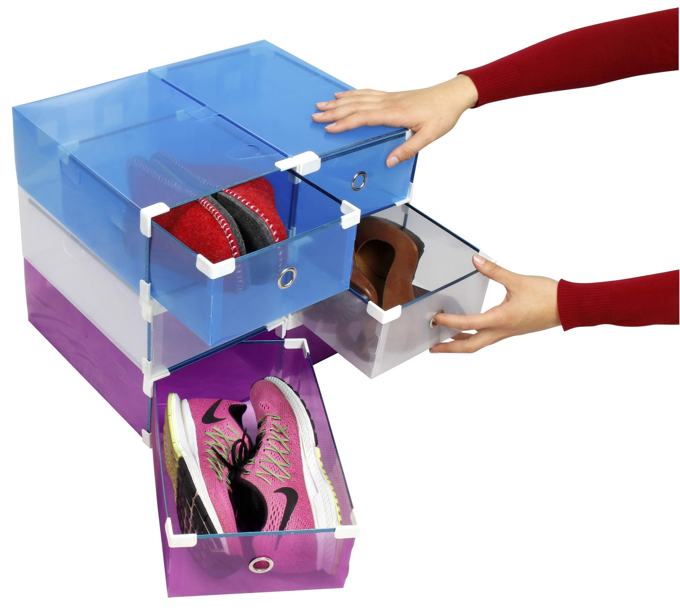 Set 6 pièces, boîte à Chaussures renforcée, utilisable comme étagère à Chaussures ou Porte-Chaussures My Box to Store Transparent en 3 Couleurs pour Un Assortiment pour Femmes ou Hommes