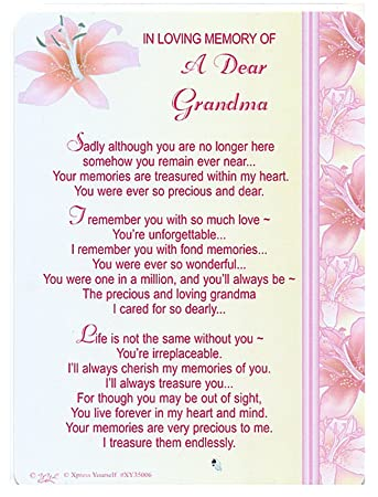 In Loving Memory Of A Dear Grandma Gravegraveside Memorial Card