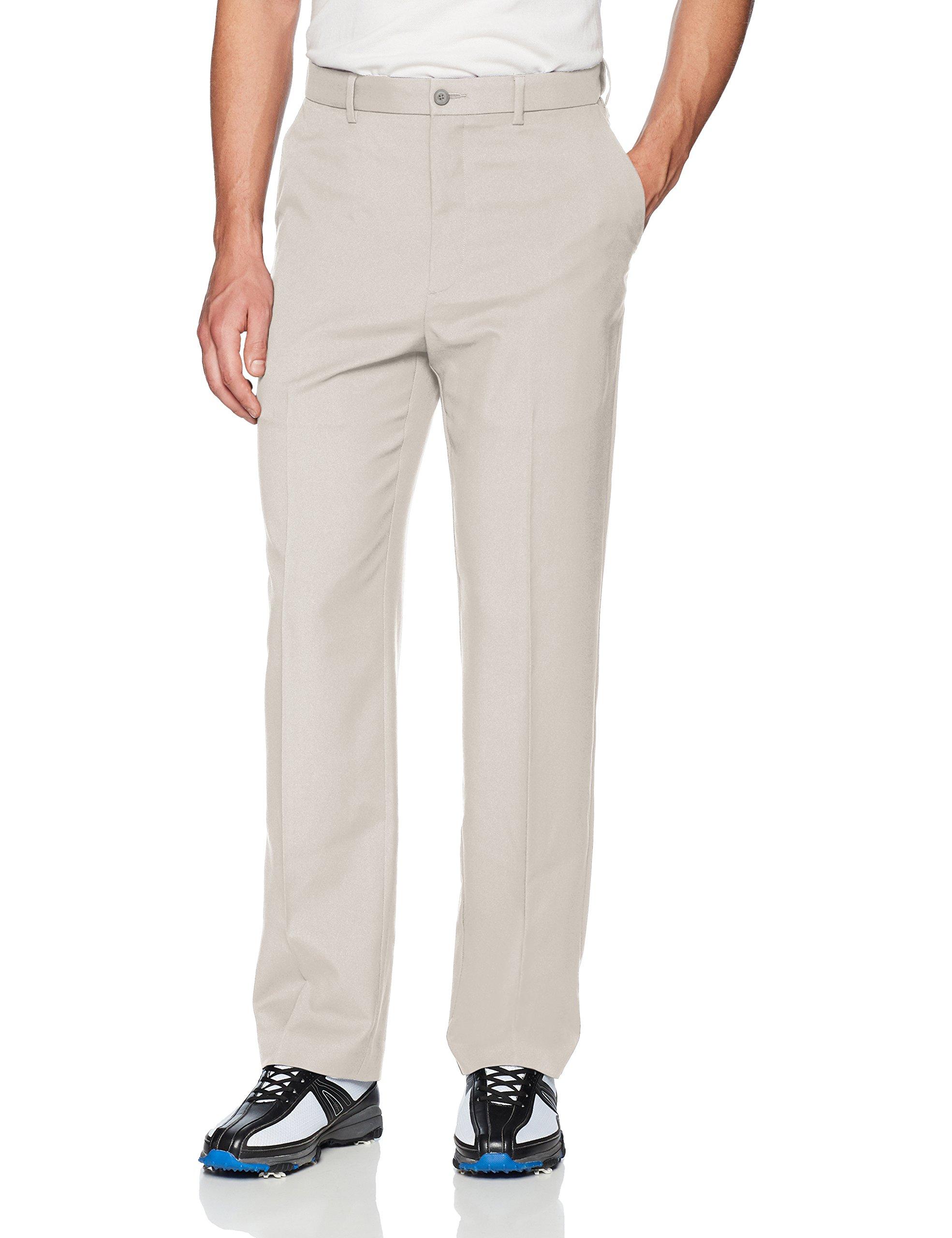 PGA TOUR Men's Flat Front Golf Pant with Expandable Waistband, Silver Cloud, 44W x 32L by PGA TOUR
