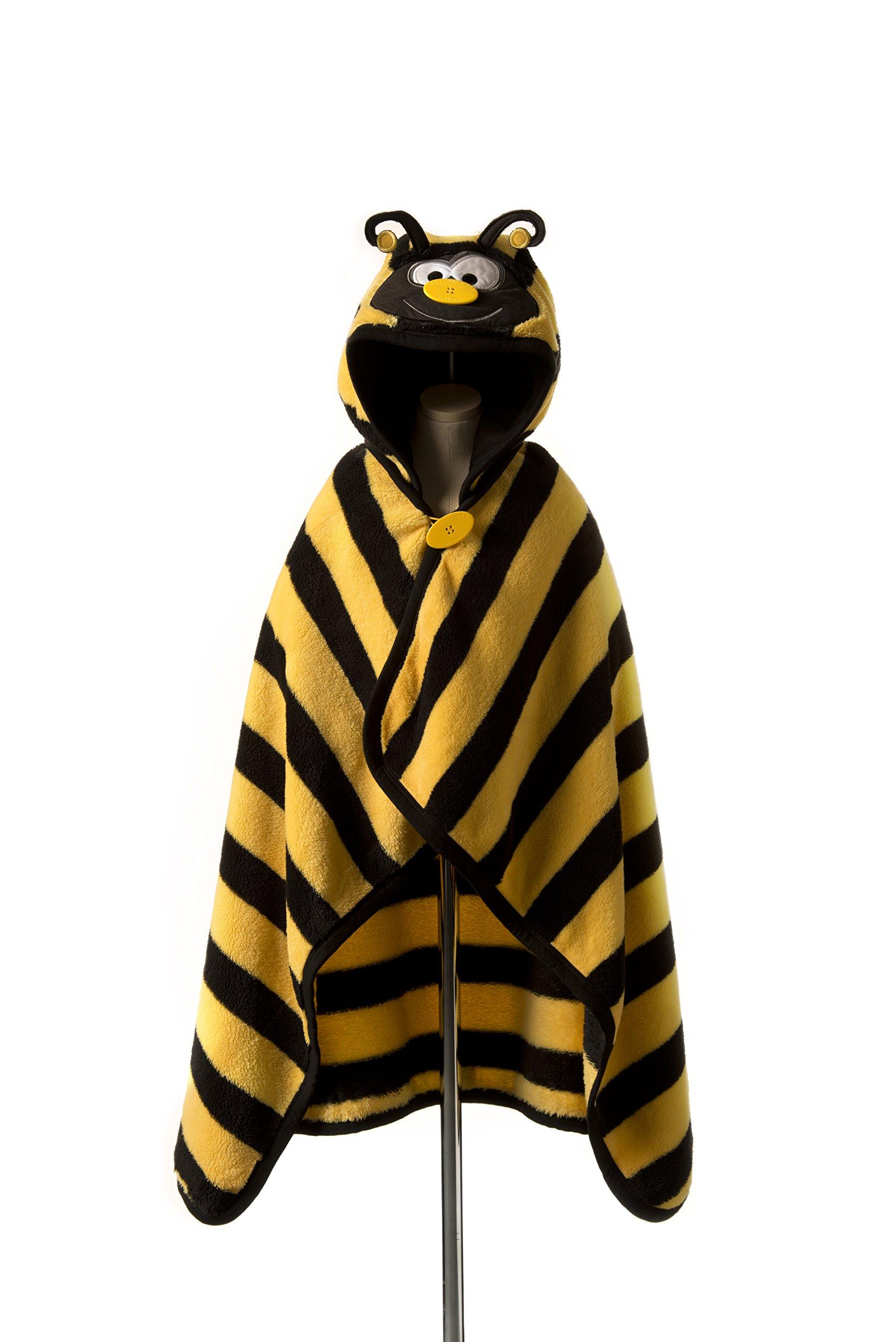 Goo-Goo Baby Button Nose Kid's Hooded Blanket and Towel, Warm Soft Fleece Character Blanket, Bumble Bee, 0-10 Years