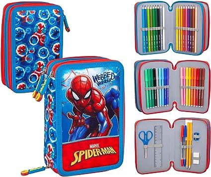 Spiderman 40424 - Estuche triple relleno, 44 accesorios escolares, 20 centímetros: Amazon.es: Oficina y papelería