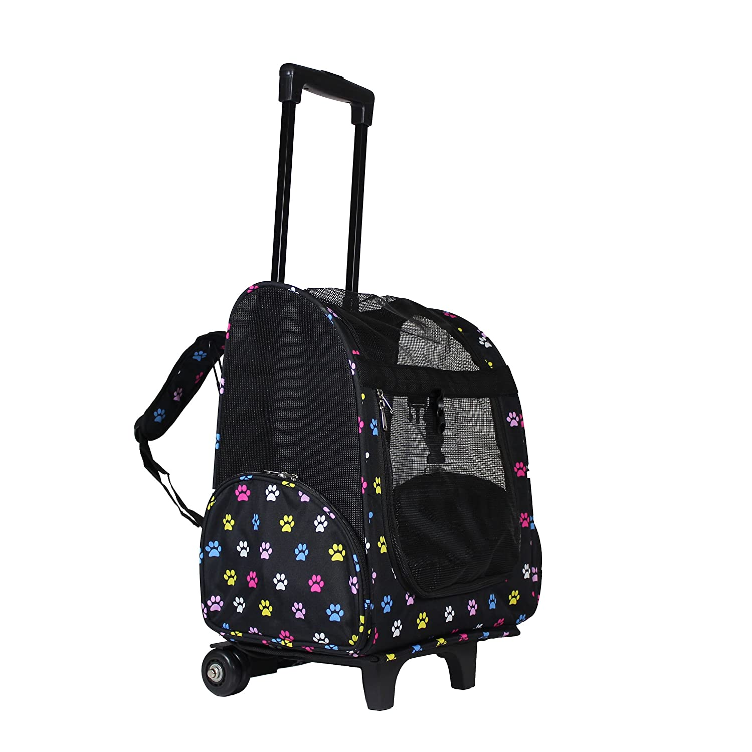 World Traveler Women s 18 Rolling Pet Carrier Backpack Convertible-Multi Paws Fashion, One Size