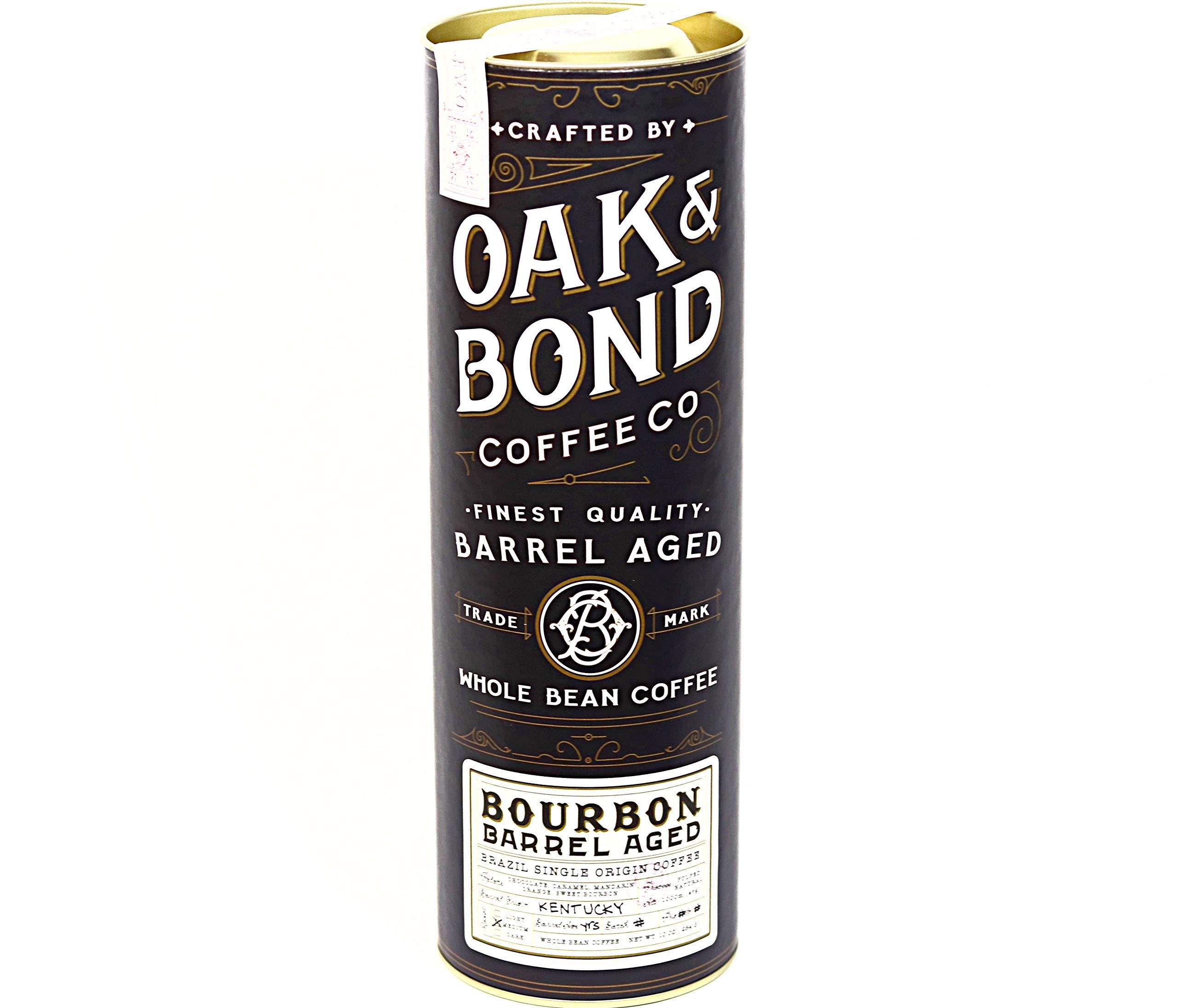 Bourbon Barrel Aged Coffee - Whole Bean Coffee, Brazil Single Origin Whole Bean Coffee Aged in Bourbon Whiskey Barrels by Oak & Bond Coffee Co. - 10 oz