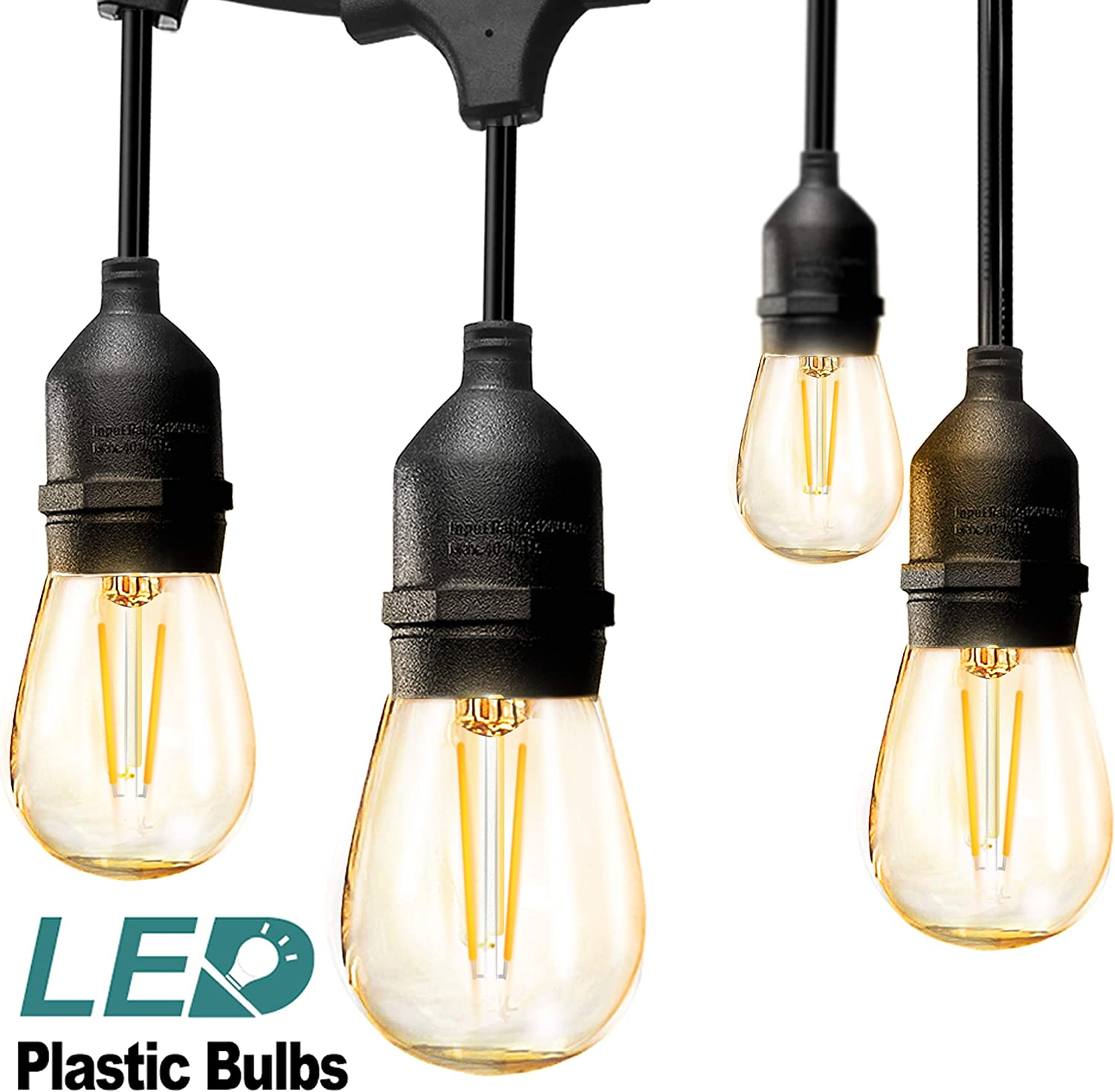 addlon LED Outdoor String Lights 48FT with 2W Dimmable Edison Vintage Plastic Bulbs and Commercial Grade Weatherproof Strand - UL Listed Heavy-Duty Decorative LED Café Patio Light , Porch Market Light: Home Improvement