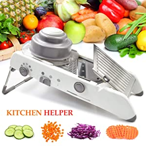 Mandoline Slicer, Vegetable Julienner Adjustable Thickness and Onion Tomato French Fry Cutter, Safety Holder and Sharp Stainless Steel Blades Veggie Chopper Kitchen Grater