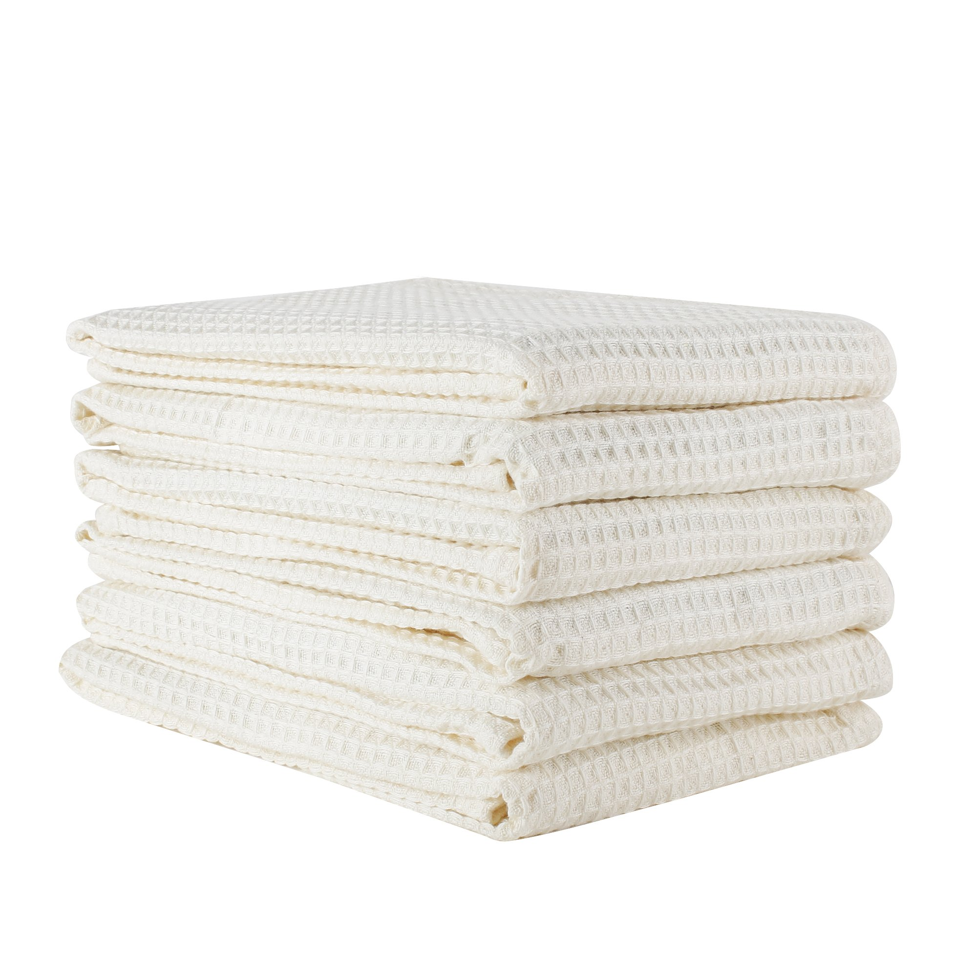 Linen and Towel 6 Pack Premium Cotton Kitchen Dish Towel, 18 inch x 28 inch, Ring Spun Cotton in Classic Waffle Weave, Cream, Multi-purpose Kitchen Napkin, Dish Towels