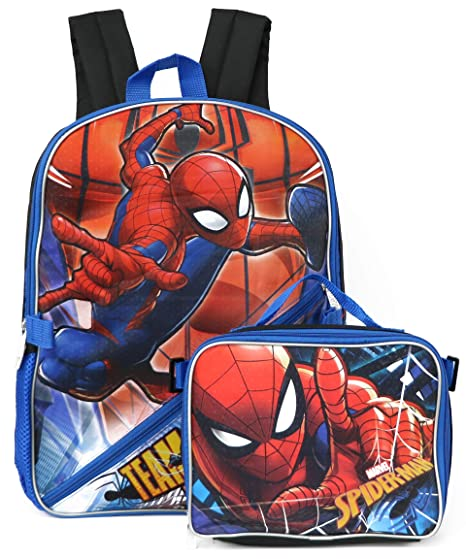 Boys' Accessories Bags Detachable Pencil Case Travel Lunch Bag Rucksack Marvel Spiderman Backpack